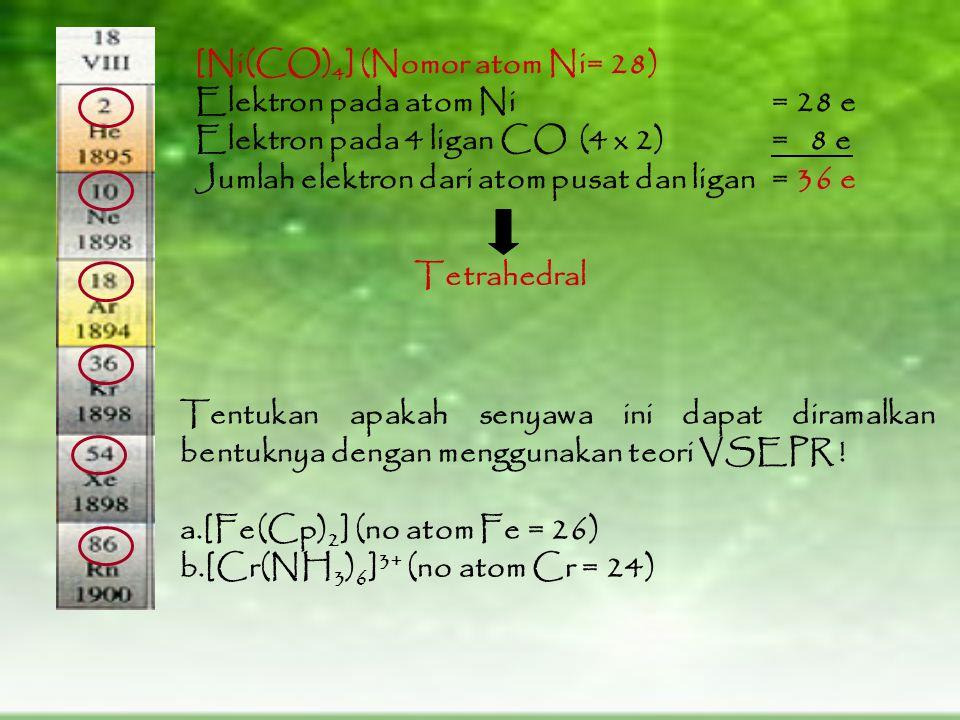 [Ni(CO)4] (Nomor atom Ni= 28)